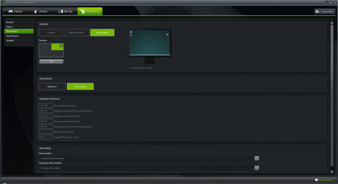 GeForce Experience FPS option