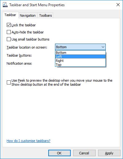 how to change taskbar position