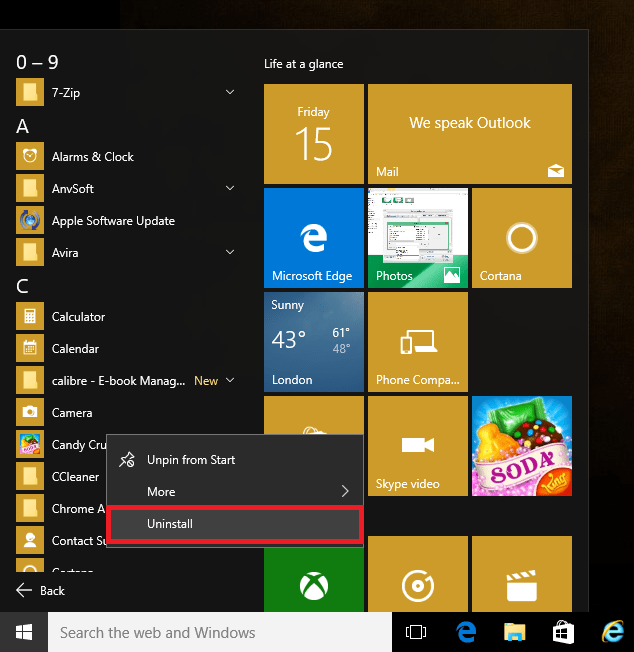 Uninstall app from Start Menu