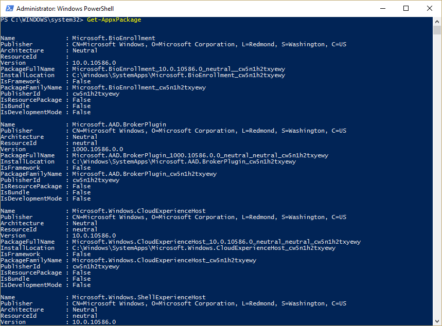 Find app names in PowerShell