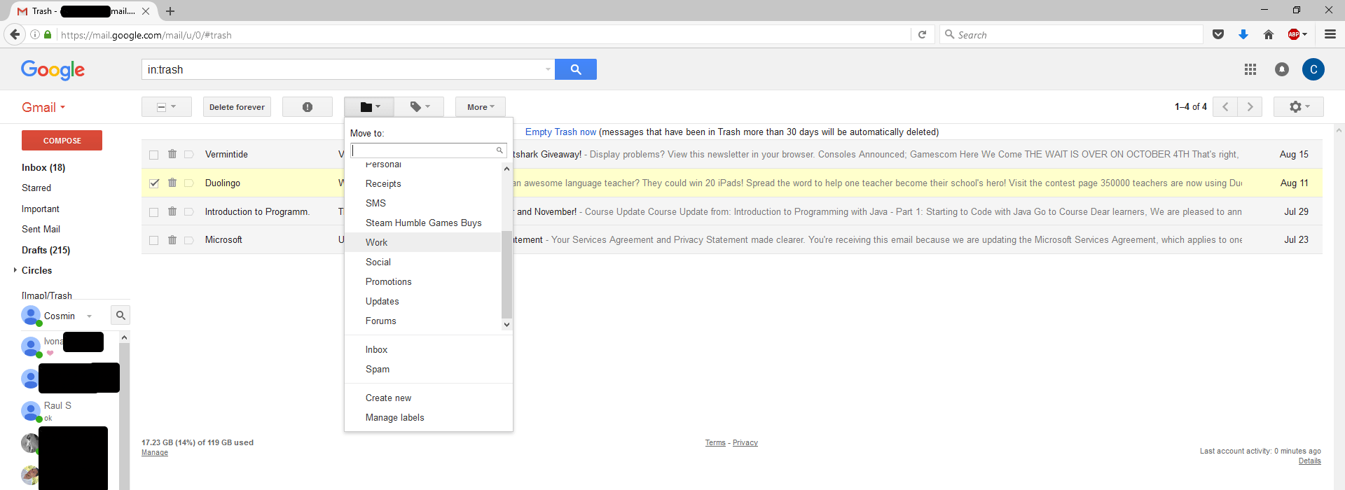 Moving Mail from Gmail's Trash