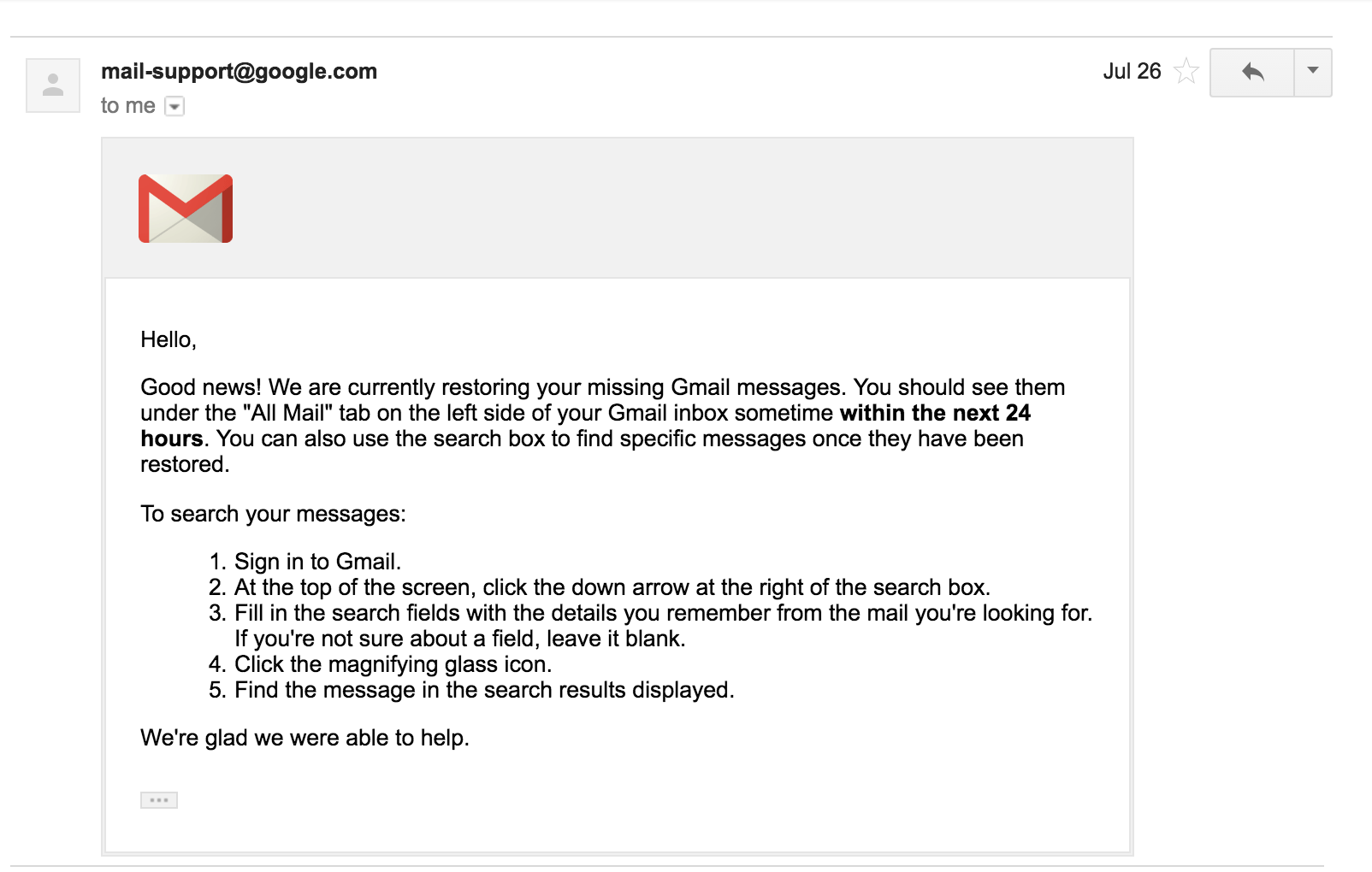 Last Reply from Google Support