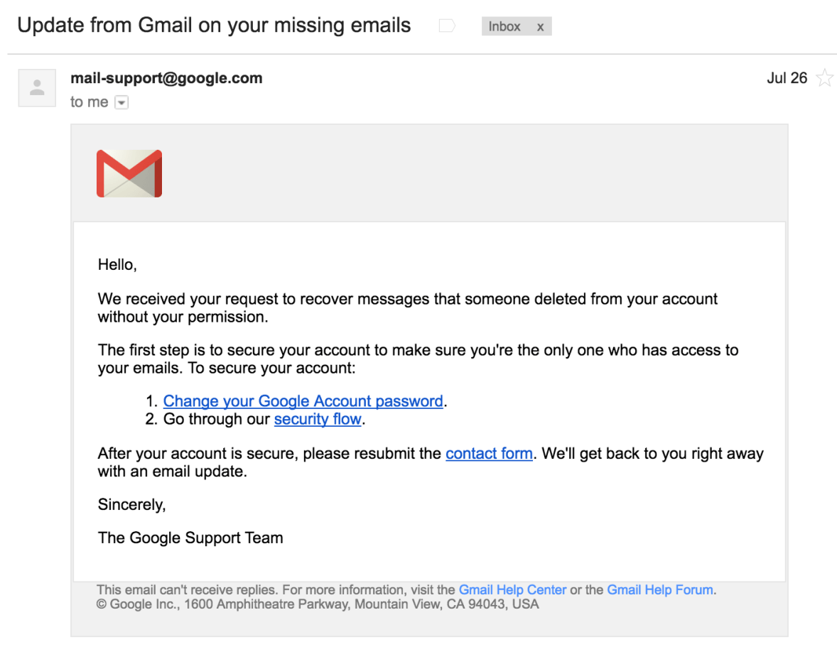 Google Support Email