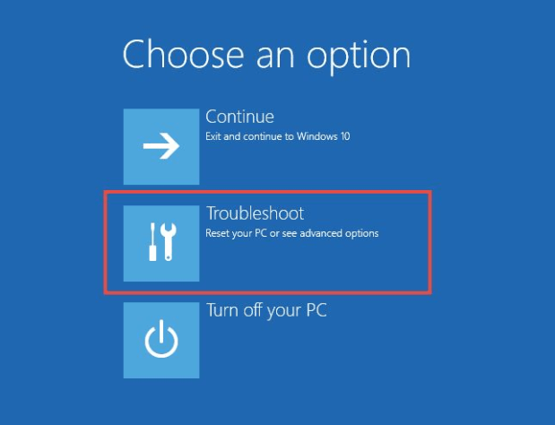 The Troubleshoot option