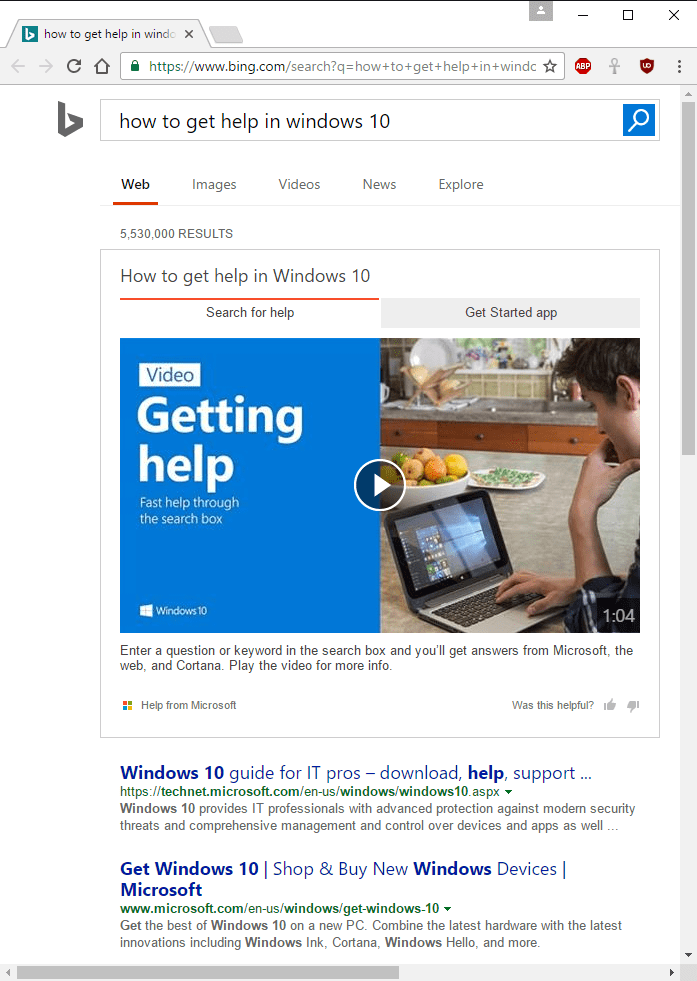 Bing Help Search Results