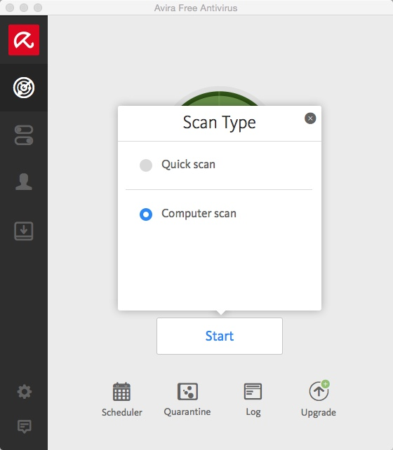 Avira Scan Mode Selection Window