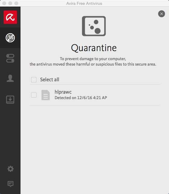 Avira Quarantine Window