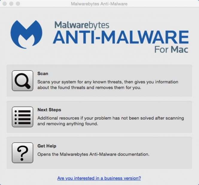 Malwarebytes Anti-Malware Main Window