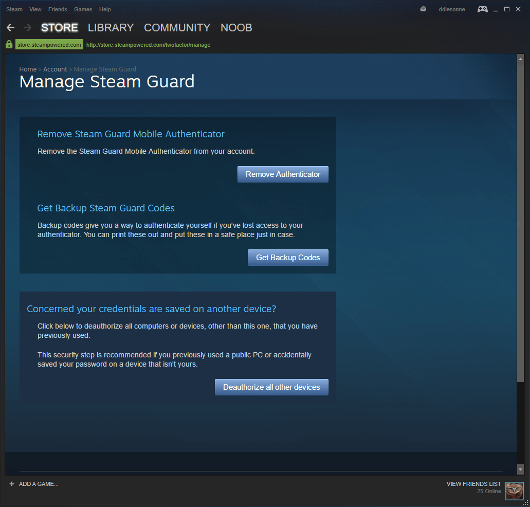 Steam Guard Management Window