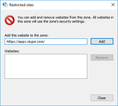 Restricted Sites Window