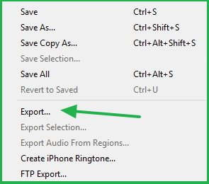 Exporting Audio Recording In ocenaudio