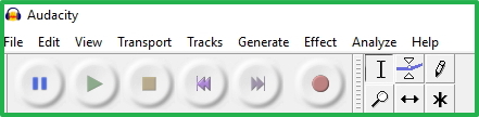 Audacity Main Toolbar