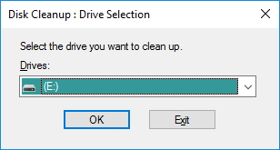 Selecting Drive For Cleanup In Disk Cleanup