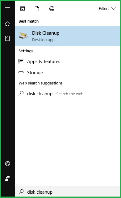Launching Disk Cleanup