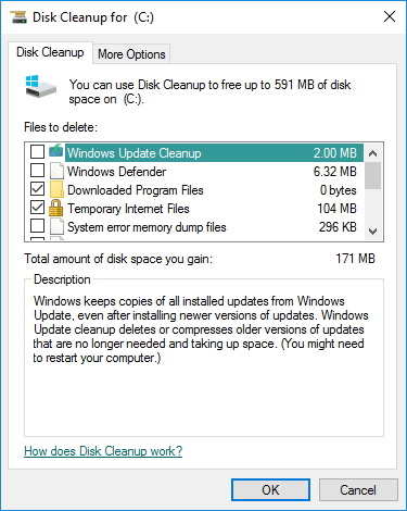 Selecting File Types In Disk Cleanup