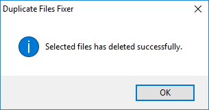 Confirmation Window In Duplicate Files Fixer