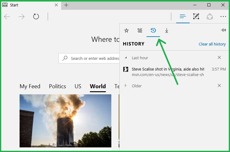 Accessing History Panel In Microsoft Edge
