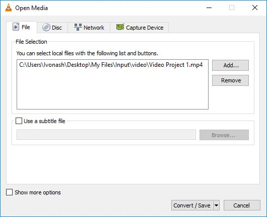 Convert/Save Tool From VLC media player