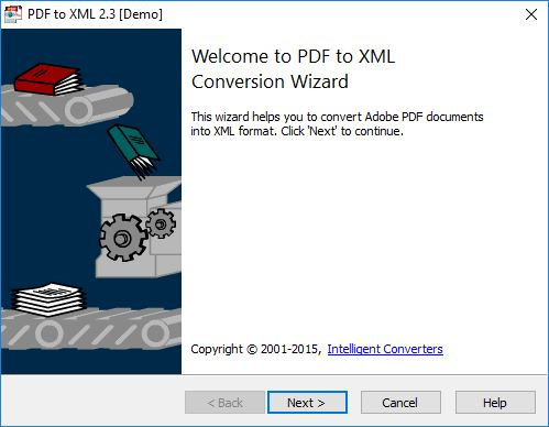 PDF-to-XML Welcome Screen