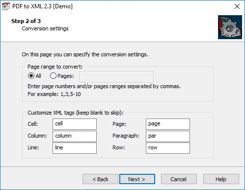 Configuring Output Settings In PDF-to-XML