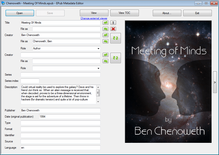 Editing eBook Metadata With EPubMetadataEditor