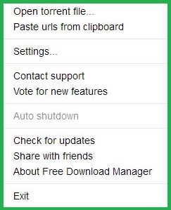 Main Menu Of Free Download Manager