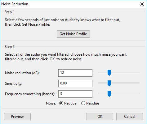 Noise Reduction Settings In Audacity