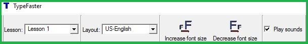 Main Toolbar Of TypeFaster Typing Tutor