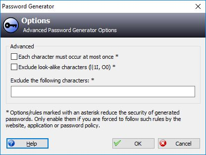 KeePass Password Generator Advanced Settings