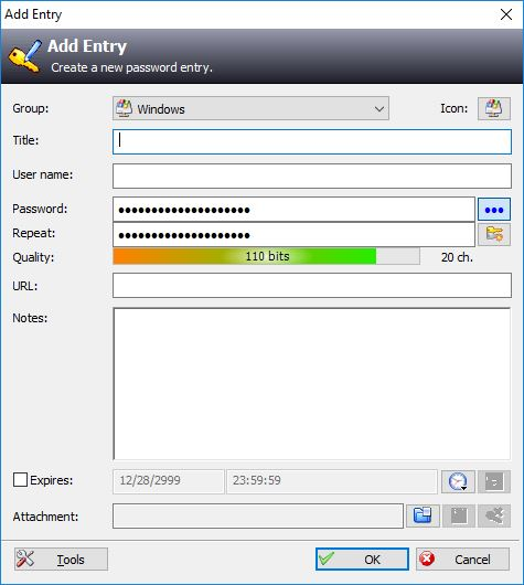 Add New Entry In KeePass