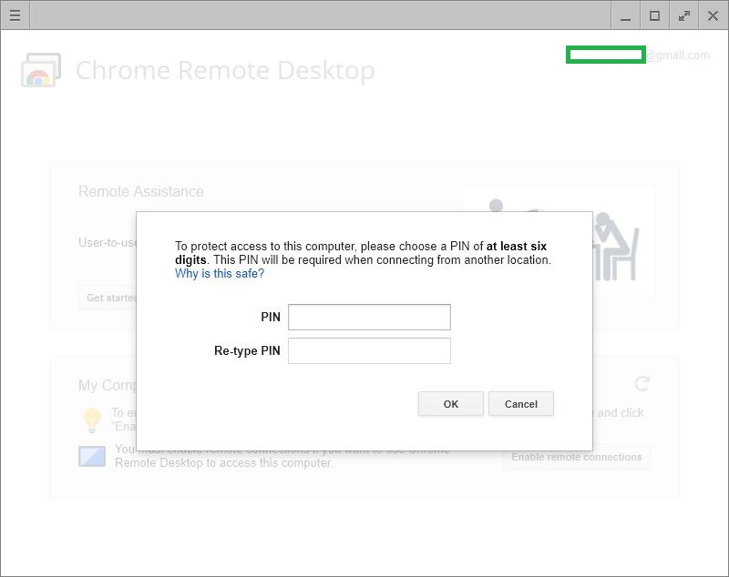 Entering PIN In Chrome Remote Desktop