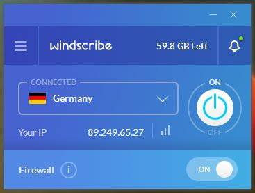 Windscribe Main Window
