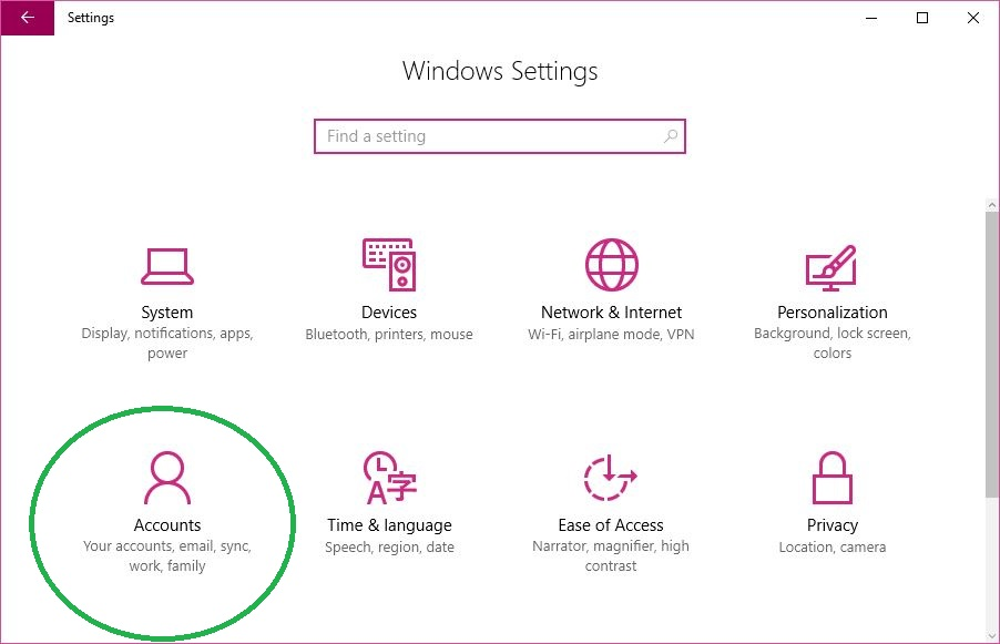 Accessing System Accounts Window