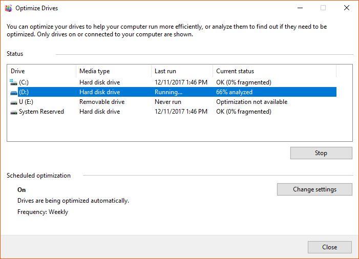 Windows' Defrag Tool