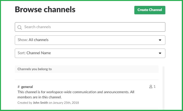 Browse Channels In Slack