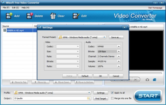 iWisoft Free Video Converter - Additional settings