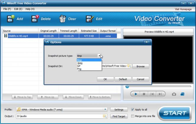 iWisoft Free Video Converter - Options menu