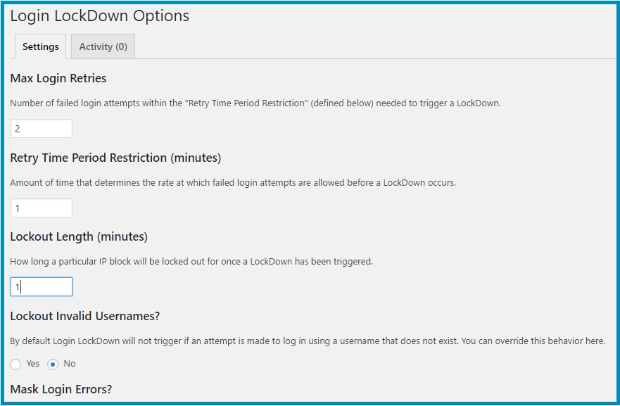Login LockDown Options