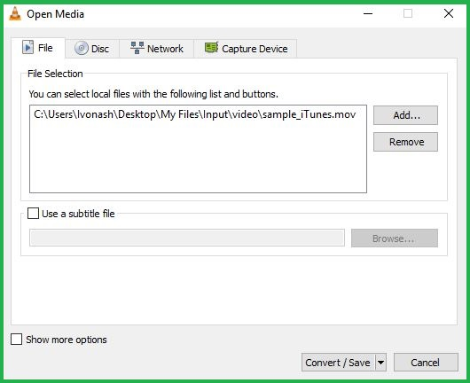 Importing File In VLC media player For Conversion