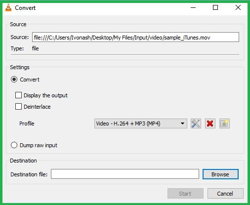Configuring VLC media player Conversion Settings