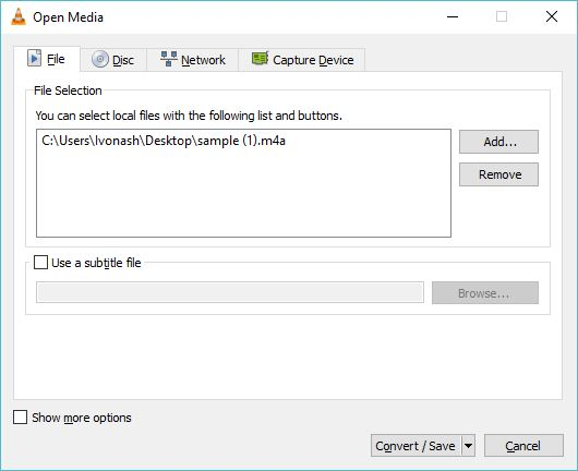 Importing M4A File In VLC media player