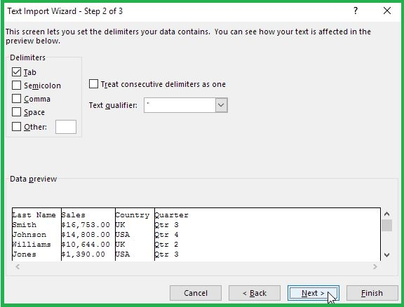 Importing TXT In Excel Step 2