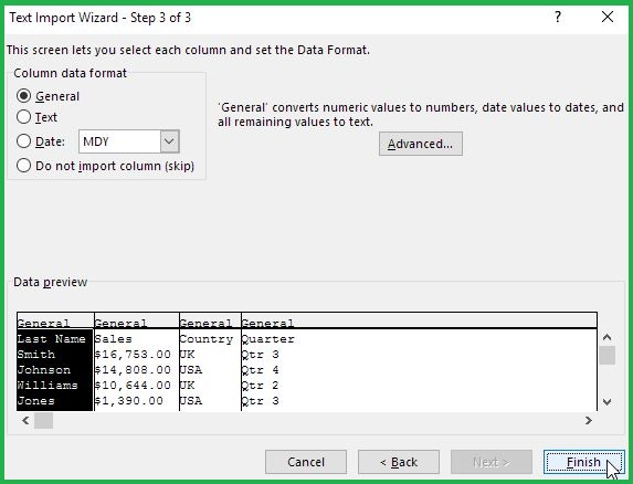 Importing TXT In Excel Step 3