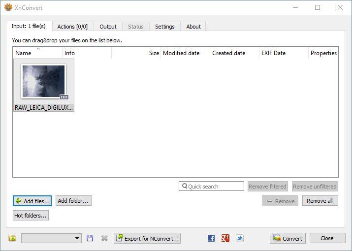 XnConvert Input Screen