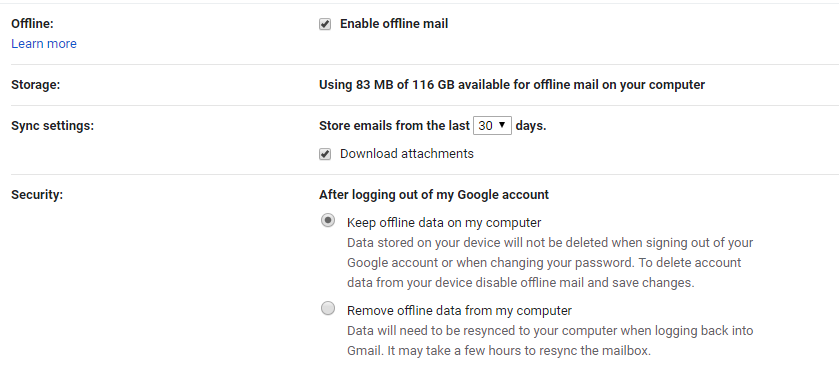 Gmail Offline settings