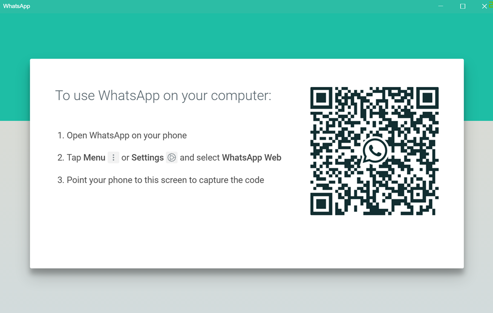 WhatsApp for PC login screen