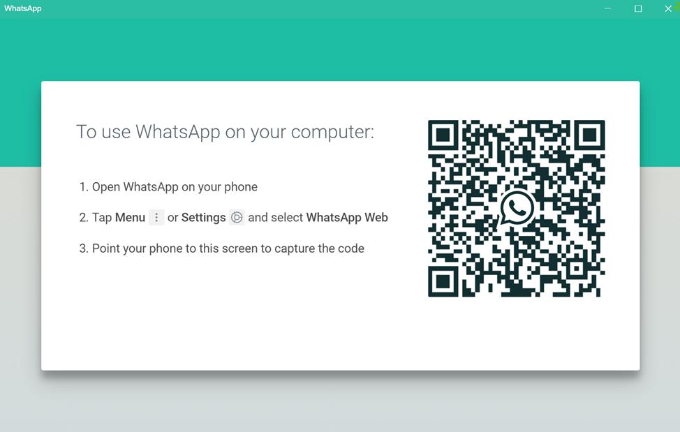 WhatsApp for PC login screen