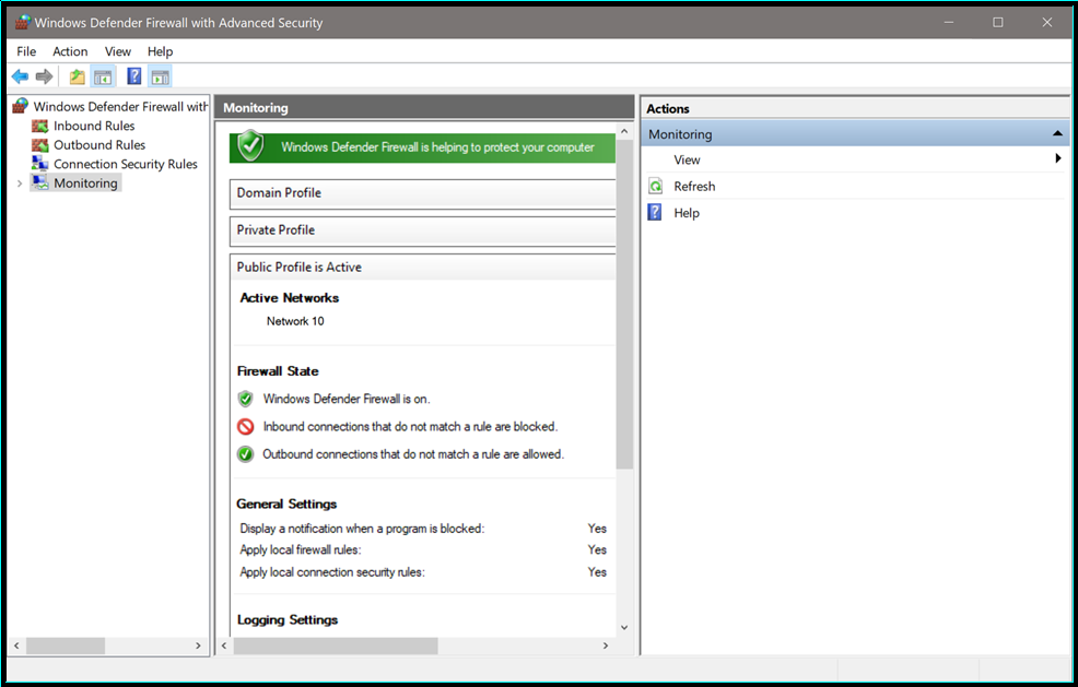 Windows Defender Firewall advanced settings