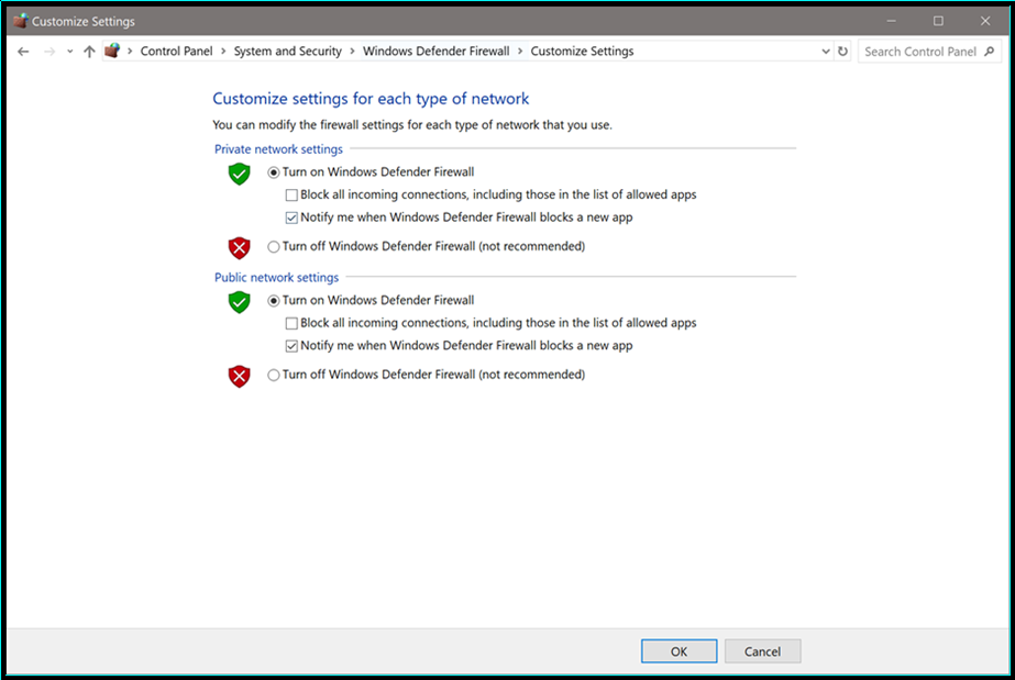 Enabling the Windows Defender Firewall