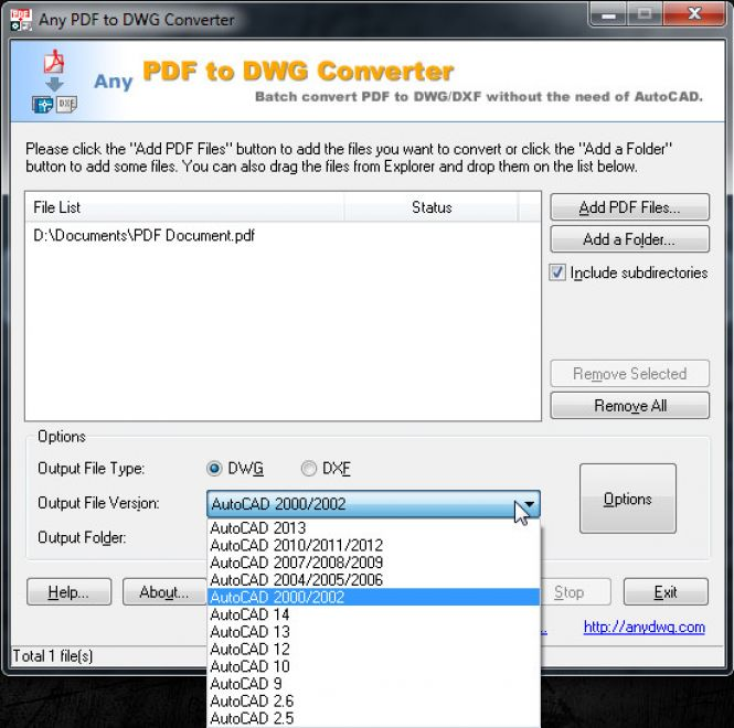 PDF to DWG Converter - Output file